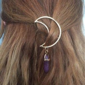 purple Hexagon Quartz Crescent Moon Hair Clip